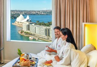 Couple staying at Sydney Harbour Marriott Hotel at Circular Quay