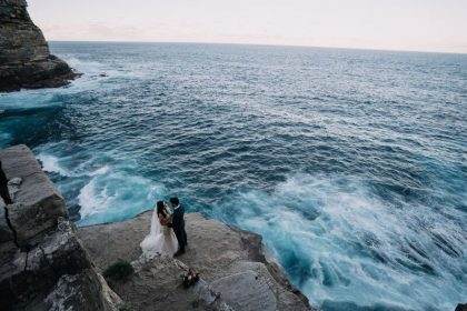 Dramatic ocean wedding photos near Dunbar House Sydney