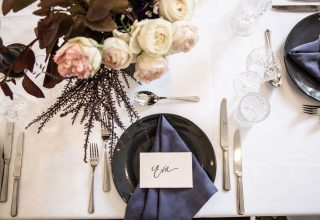 Tabletop detail shot for purple and peach wedding at The Savoy Hotel on Little Collins