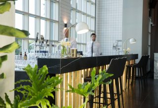 Brass bar at modern wedding venue Metropolis in Melbourne