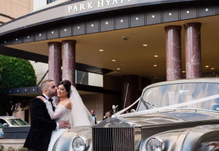 Exterior hotel photo with bride and groom at Park Hyatt Melbourne