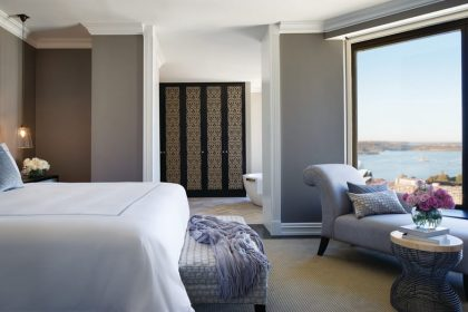 Guest room with a view of Sydney Harbour at Four Seasons Hotel Sydney