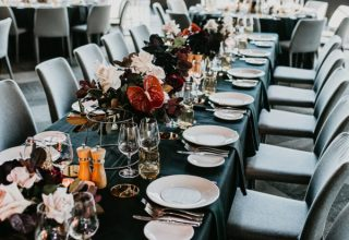 Metropolis Wedding Reception Teal Dinner Tables Photo By MirandaStokkel