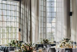 Metropolis wareouse window setup for dinner, Photo by Corey Wright Photography