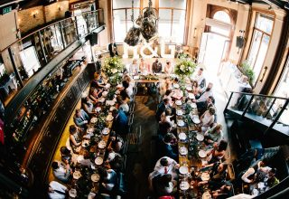 St Bart's Brewery Wedding and Event Venue London, Wedding Reception on Long Tables