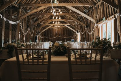 Wedding reception set up at The Tythe Barn, Rustic Wedding Venue