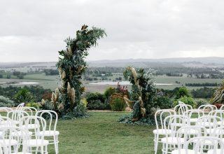 Stunning Yarra Valley winery wedding at Levantine Hill photo by Erin & Tara ceremony setup