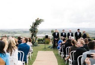 Yarra Valley winery wedding ceremony at Levantine Hill photo by Erin & Tara