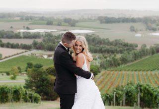 Yarra Valley winery wedding ceremony at Levantine Hill photo by Erin & Tara couple
