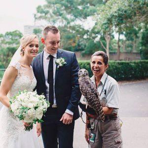 Epicure at Taronga Zoo, Unique Wedding Venue Sydney, Bride and Groom Bird Experience