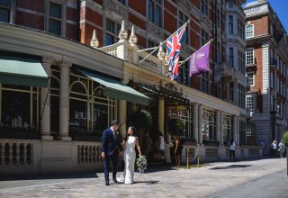 The Connaught Wedding Venue, Entrance outside, Photography by Guy Collier